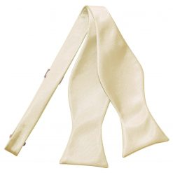 Champagne Satin Self Tie Thistle Bow Tie