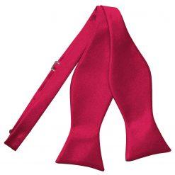 Crimson Red Satin Self Tie Thistle Bow Tie