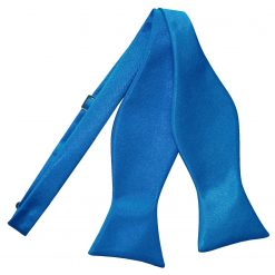 Electric Blue Satin Self Tie Thistle Bow Tie