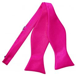 Hot Pink Satin Self Tie Thistle Bow Tie