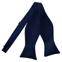 Navy Blue Satin Self Tie Thistle Bow Tie
