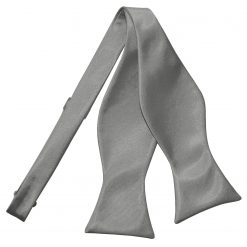 Platinum  Satin Self Tie Thistle Bow Tie