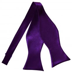 Purple Satin Self Tie Thistle Bow Tie