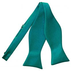 Teal Satin Self Tie Thistle Bow Tie
