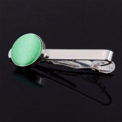 Mint Green Satin Inlay Tie Clip