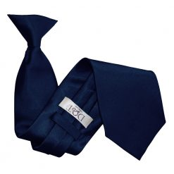 Navy Blue Satin Clip On Tie