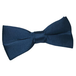 Navy Blue Satin Pre-Tied Thistle Bow Tie