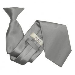 Platinum Satin Clip On Tie