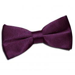 Plum Satin Pre-Tied Thistle Bow Tie
