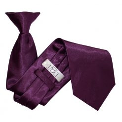 Plum Satin Clip On Tie