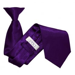 Purple Satin Clip On Tie
