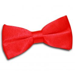 Red Satin Pre-Tied Thistle Bow Tie