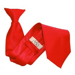 Red Satin Clip On Tie
