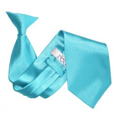 Robin's Egg Blue Satin Clip On Tie
