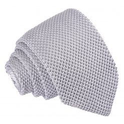 Silver Knitted Slim Tie