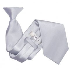 Silver Satin Clip On Tie