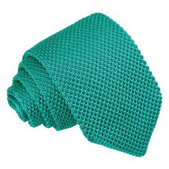 Teal Knitted Slim Tie