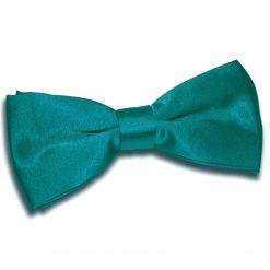 Teal Satin Pre-Tied Thistle Bow Tie