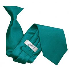 Teal Satin Clip On Tie