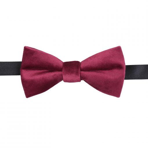 Burgundy Plain Velvet Pre-Tied Thistle Bow Tie