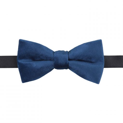 Navy Blue Plain Velvet Pre-Tied Thistle Bow Tie