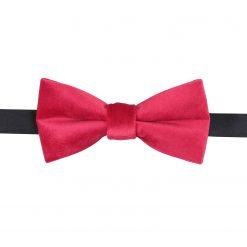 Red Plain Velvet Pre-Tied Thistle Bow Tie