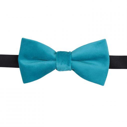 Teal Plain Velvet Pre-Tied Thistle Bow Tie