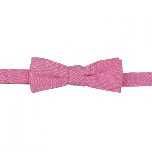 Amaranth Pink Chambray Cotton Self Tie Batwing Bow Tie