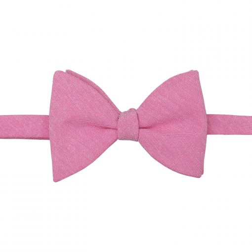 Amaranth Pink Chambray Cotton Self Tie Butterfly Bow Tie