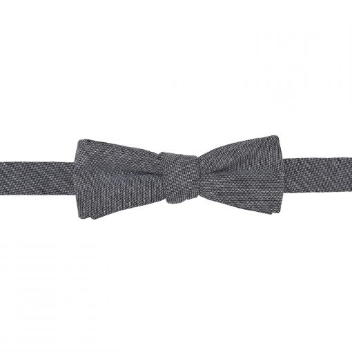 Charcoal Chambray Cotton Self Tie Batwing Bow Tie