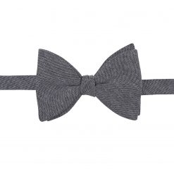 Charcoal Chambray Cotton Self Tie Butterfly Bow Tie