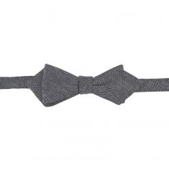 Charcoal Chambray Cotton Self Tie Pointed Bow Tie
