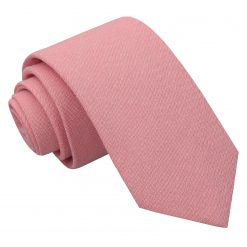 Coral Chambray Cotton Slim Tie