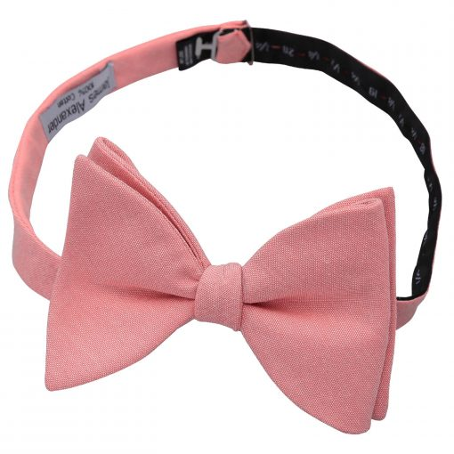 Coral Chambray Cotton Self Tie Butterfly Bow Tie