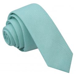 Light Turquoise Chambray Cotton Skinny Tie