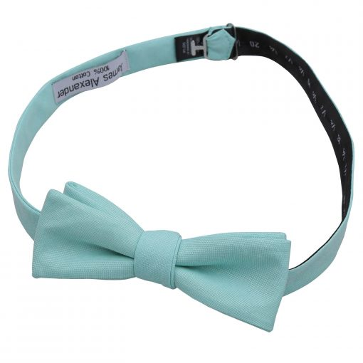 Light Turquoise Chambray Cotton Self Tie Batwing Bow Tie