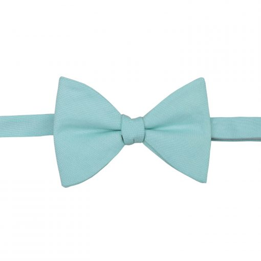 Light Turquoise Chambray Cotton Self Tie Butterfly Bow Tie