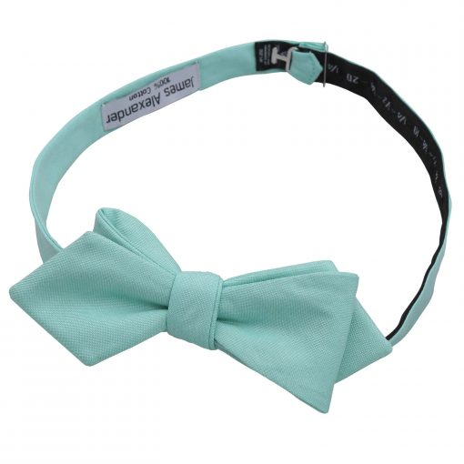 Light Turquoise Chambray Cotton Self Tie Pointed Bow Tie