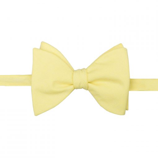Light Yellow Chambray Cotton Self Tie Butterfly Bow Tie