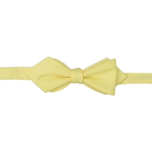Light Yellow Chambray Cotton Self Tie Pointed Bow Tie