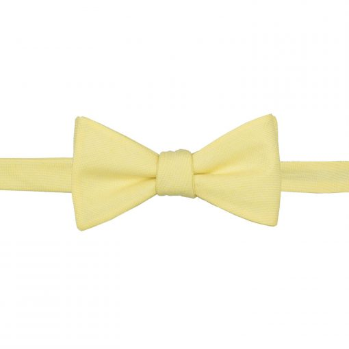 Light Yellow Chambray Cotton Self Tie Thistle Bow Tie