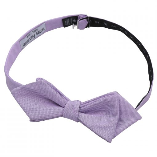 Lilac Chambray Cotton Self Tie Pointed Bow Tie