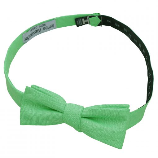 Mint Green Chambray Cotton Self Tie Batwing Bow Tie