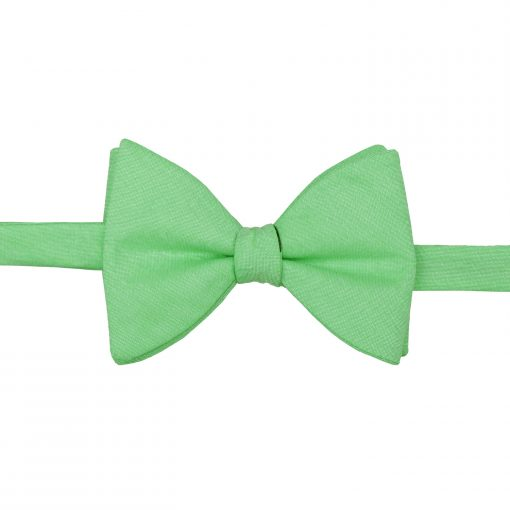 Mint Green Chambray Cotton Self Tie Butterfly Bow Tie