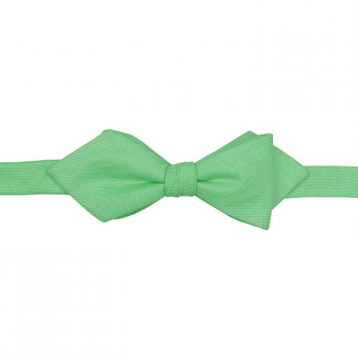 Mint Green Chambray Cotton Self Tie Pointed Bow Tie