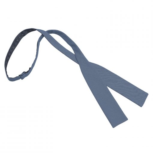Navy Blue Chambray Cotton Self Tie Batwing Bow Tie