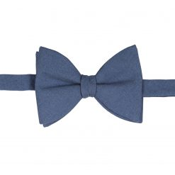 Navy Blue Chambray Cotton Self Tie Butterfly Bow Tie
