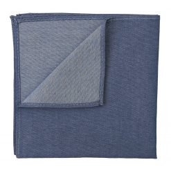 Navy Blue Chambray Cotton Pocket Square