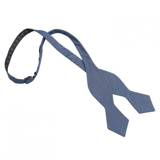 Navy Blue Chambray Cotton Self Tie Pointed Bow Tie