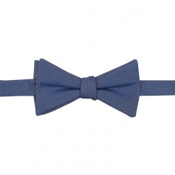 Navy Blue Chambray Cotton Self Tie Thistle Bow Tie